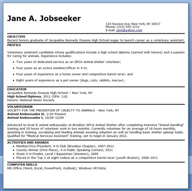 Veterinary Assistant Resume Examples Career Life Pinterest