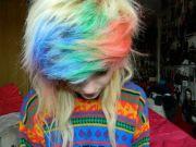 rainbow bangs platinum hair scene