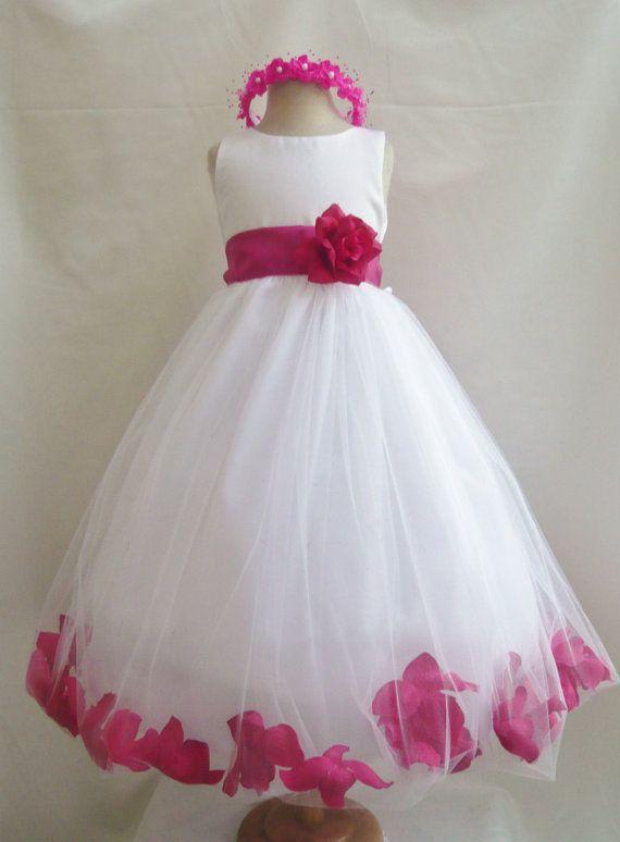 Flower Girl Dress - White Rose Petal Dress with Fuchsia - Wedding, Easter, Junior Bridesmaid, Formal Girl Dress, Recital (FGPT)