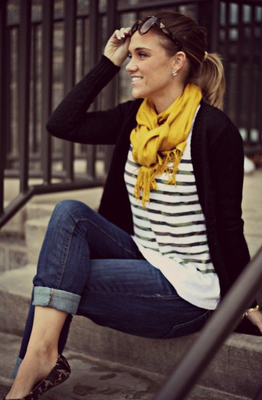 rolled skinny jeans, striped shirt, cardigan over with bright tied-up scarf and loafers or booties