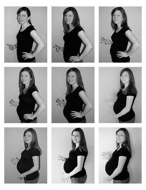 Secuencia embarazo meses con dedos