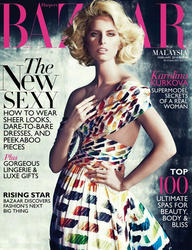 Harper's Bazaar Malaysia February 2014, Karolina Kurkova by Gan. Chanel rainbow dress.