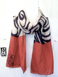 Red and black silk scarf, Hand Painted. Japanese Silk