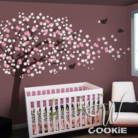 'Cherry Blossom Tree with Birds' Wall Decal / Etsy