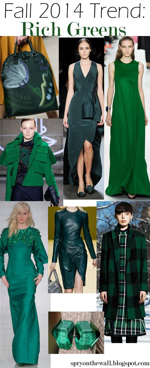 Fall 2014 Trend - Emerald Green, Rich Green, #greenfallcolortrends -- love it - one of my fav colours! Guess I can whip out my forest green tartan blazer and pants! Also love the designs there and how they are accenting the colour.