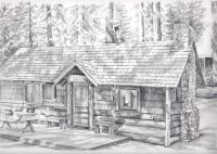 Cabin Pencil Drawing