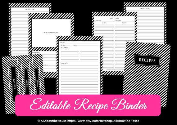 editable recipe binder printables sheet card recipes to