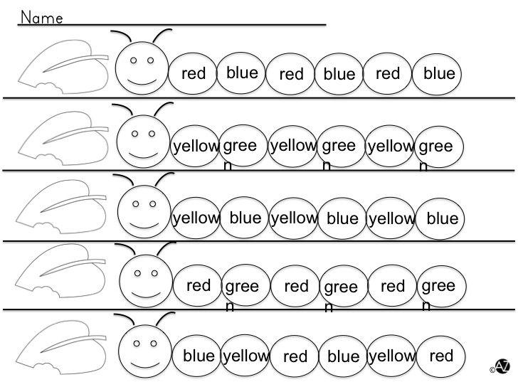 Caterpillar bingo dabber fun! Set includes color words