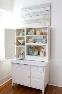 white Hoosier cabinet | my nonexistent beach house | Pinterest