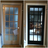 Distressed black French door to study | Home projects ...