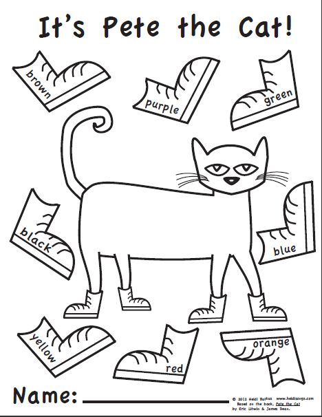 pete the cat coloring page  t /t/ teacher {beginning of