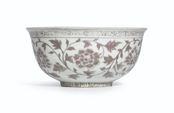 A fine copper-red 'Chrysanthemum and Peony' bowl, Ming Dynasty, Hongwu Period