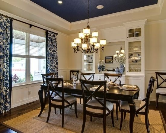 dining room with navy ceiling  ReDecor Project  Pinterest