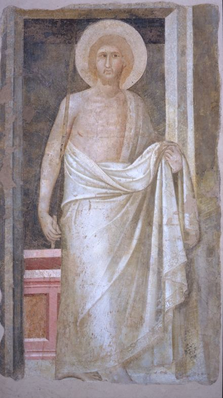 Pietro Lorenzetti Christ Resurrected C 1336 Inv. FPI 0062 detached fresco,  194.5 x 107.5 cm Siena, Museo Diocesano