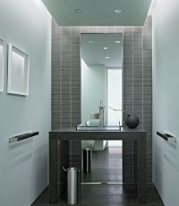 Half bath with full length mirror | Powder Room | Pinterest
