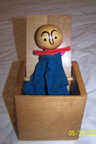 Vintage Wood Toy Jack in Box Manual Flip Top | eBay