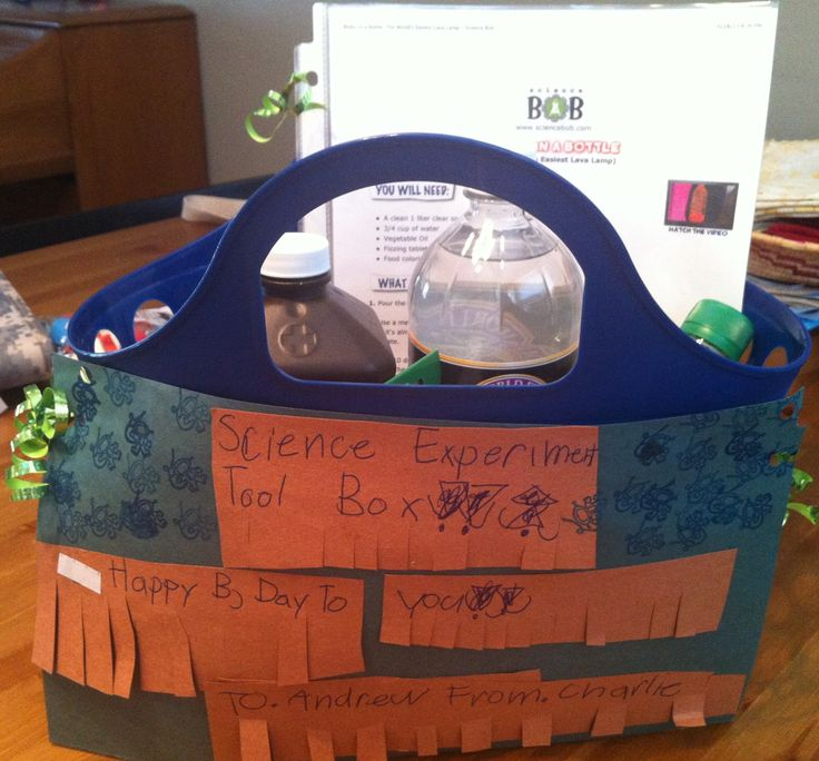 Science Experiment Tool Box! Made an 8 year old boy birthday gift with ingredients, supplies (all from the dollar store), & instructions for 4 experiments: make a lava lamp, balloon inflator, foam fountain, & gak (dragon slime).  I had some 7 year old help with the labels ☺. Thank you Science Bob! #scienceisawesome