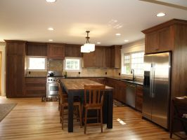 dark cabinet light wood floor   Kitchen Ideas   Pinterest