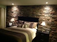 Rock accent wall in the master bedroom | Home decor ...