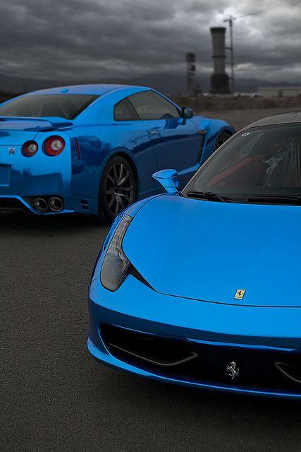 Blue Chrome Nissan GTR and Ferrari 458 Italia....don't like the gtr but love the blue chrome  - Attract your goals FASTER, CLICK ON THE PICTURE #Chrome #VinylWraps #Rvinyl  Use Code CHROME for 25% Off Until 11.11.14 at http://www.rvinyl.com/Chrome-Vinyl-Film-Wraps.htm