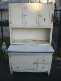 ANTIQUE shabby chic style white wash distressed HOOSIER ...