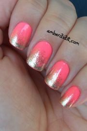 coral gold nail art design