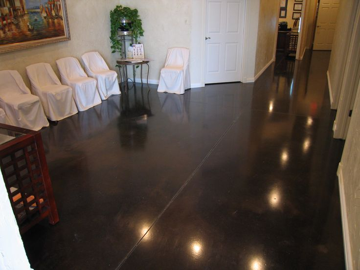 beautiful dark stained concrete floors  If I Could Afford to Continu