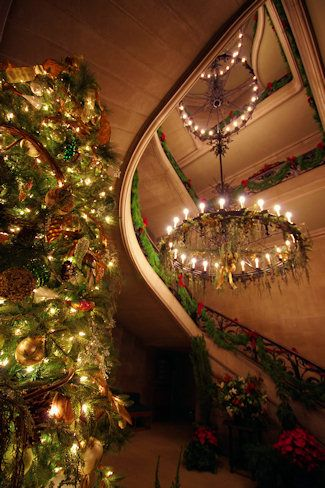 The Grand Staircase at Biltmore House decorated for Candlelight Christmas Evenings 2013.
