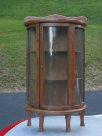 Miniature Bow Front & Sides Display Curio Cabinet ANTIQUE ...