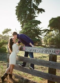 Cute Picture Idea, Save The Date, Wedding Date, Anniversary Date, Due Date, etc... i think it would be better if she was sitting on top of the fence and he stood and kissed