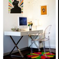Jonathan Adler desk, Ghost chair | Working spaces. | Pinterest