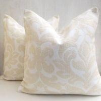 White and Cream Sofa throw pillows, White Decorative euro ...