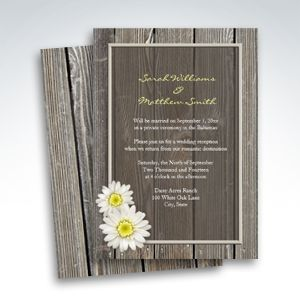 Reception Only Rustic Daisy Wedding Invitations