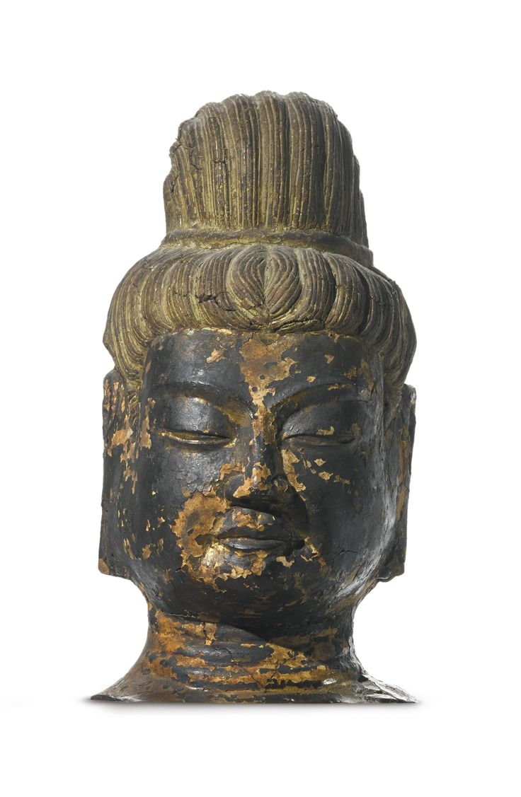 A rare dry lacquer head of Brahma, Japan, 7th-8th century