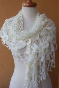 Shawl Wedding. Ivory Shawl. Crochet Shawl. TRIANGLE FLOWER ...