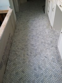 herringbone floor for shower | Master bathroom | Pinterest