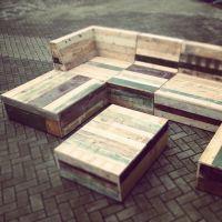 Recycled pallet garden furniture | patio plans | Pinterest