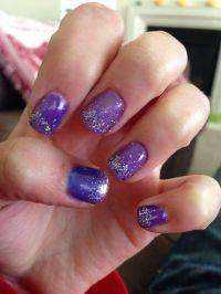 Fun purple glitter gel nails | Nail art | Pinterest