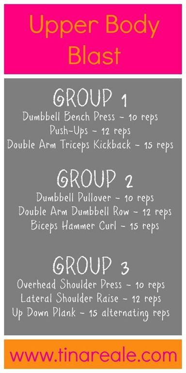 Upper Body Workout.. You will perform 2-4 sets of each group with 10 reps of the first exercise, 12 reps of the second exercise, and 15 reps of the third exercise. It adds up FAST.