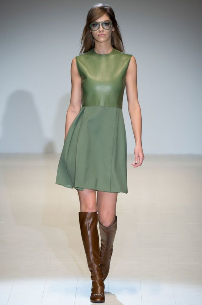 fall 2014 colours trend green, brown boots, gucci, leather vest, army green
