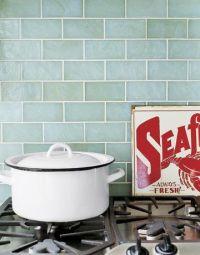 sea-green glass backsplash for kitchen   Groovy kitchens ...