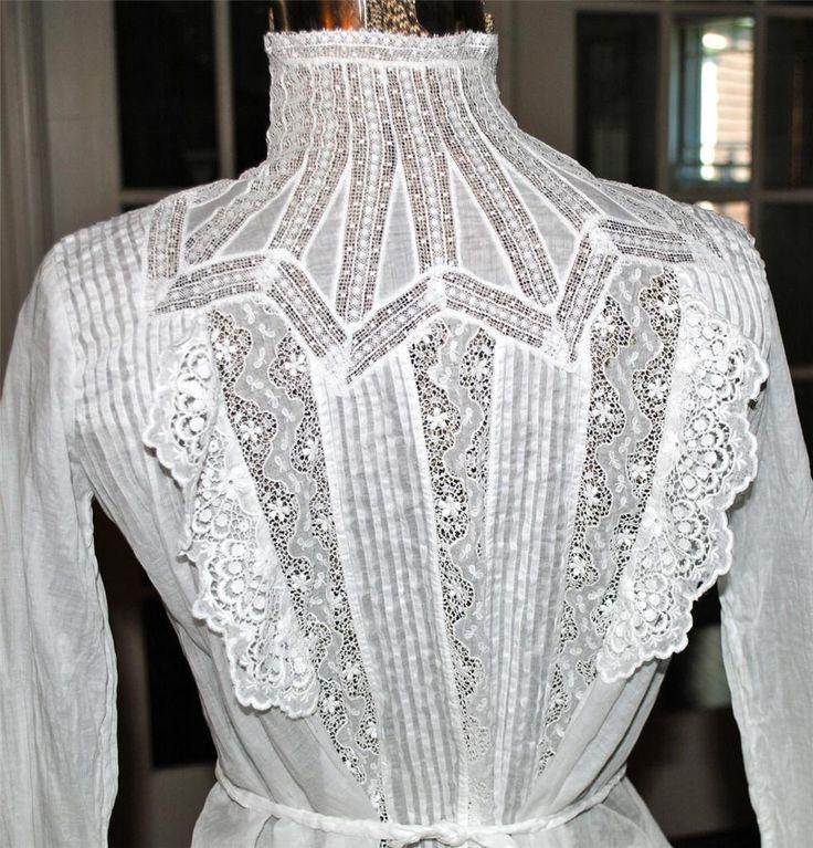 Stunning White Cotton French Tape Lace Edwardian Bodice Blouse   eBay