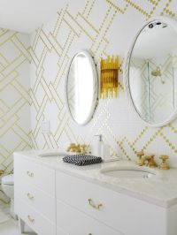 gold and white bathroom | bathrooms | Pinterest