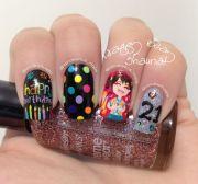 birthday nails. nail art. notd
