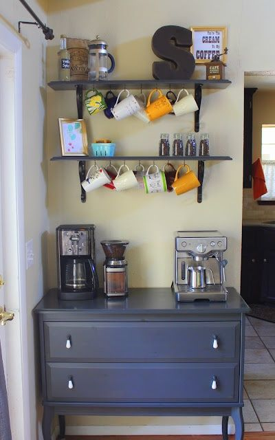 Coffee bar...because there is never enough room on the kitchen counter. cute idea!