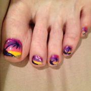 tropical beach nail art toes