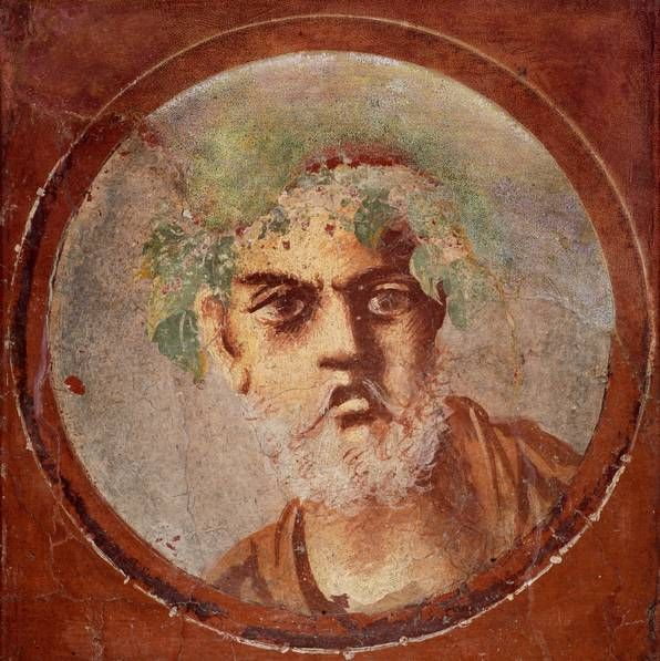 Portrait of an old poet or philosopher, wall fresco from the Casa del Citarista, Fourth style, n to 50-79. Chr. , Naples National Archaeological Museum.