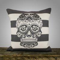 Sugar Skull Pillow, Black and White Stripe Pillow ...