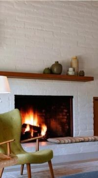 Living & Dining: Brick Fireplaces Painted White