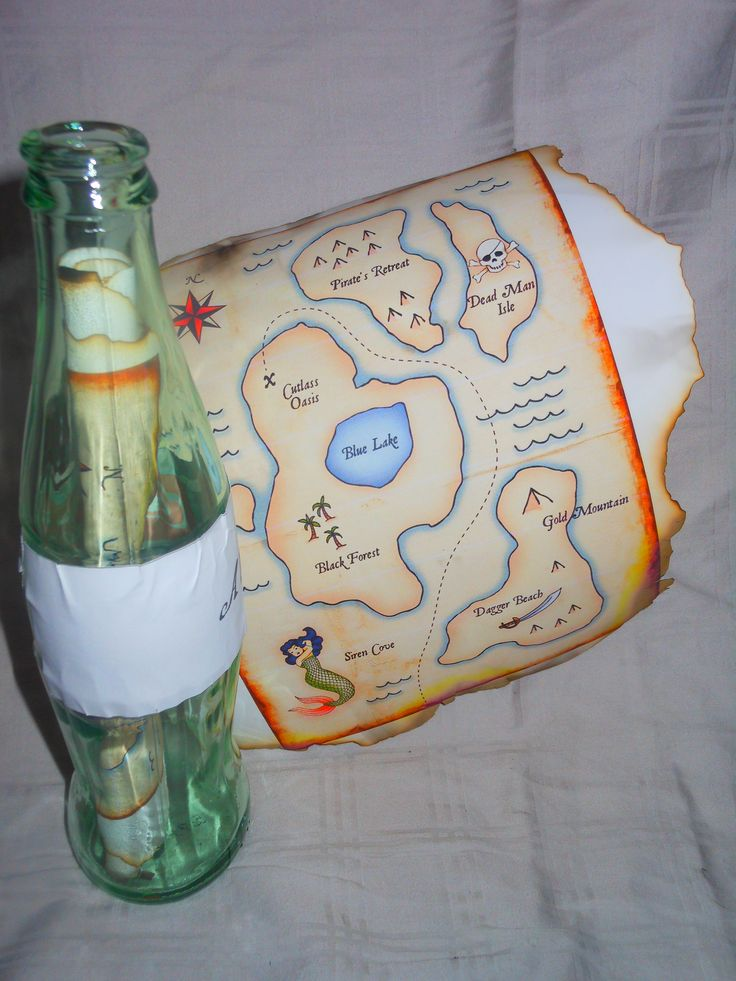 The invitations to Desmond's birthday party. The map was printed from HP's creative studio on the website. I burned the edges and delivered them in bottles (the ones that had to be mailed were in plastic bottles with lids)